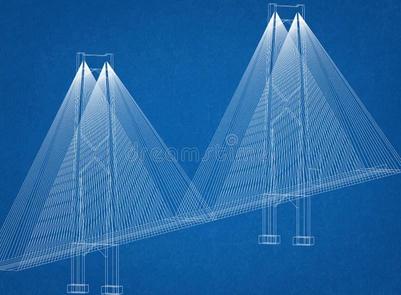 桥梁建筑师图纸 向量例证