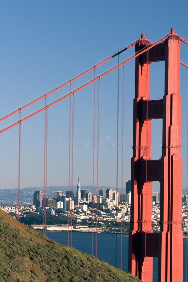 桥梁弗朗西斯科门金黄圣地平线 免版税库存图片