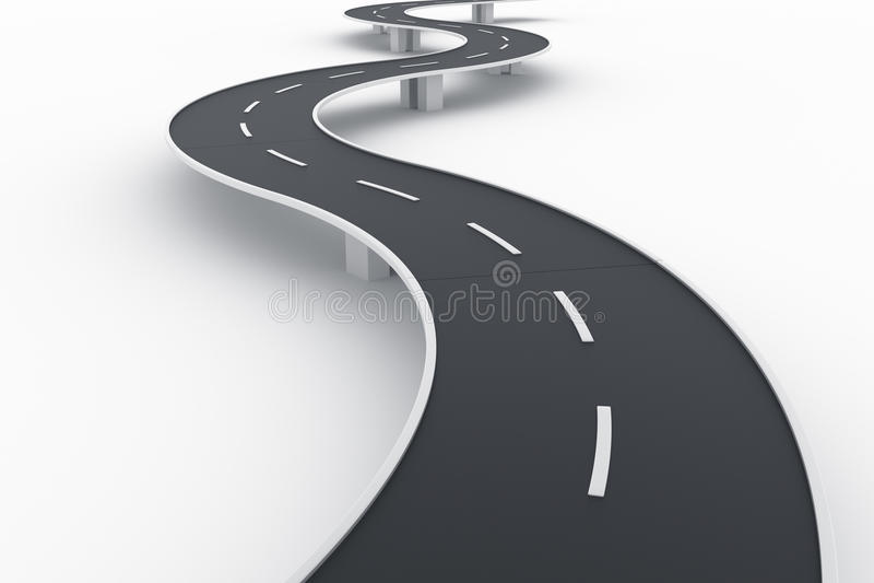 桥梁弯曲的路 库存图片