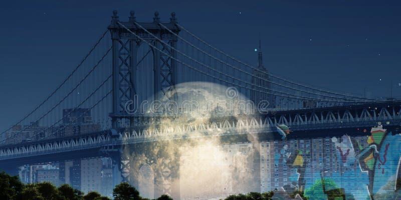 桥梁曼哈顿 库存照片