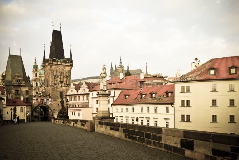 桥梁查尔斯捷克日布拉格共和国查阅 布拉格 免版税图库摄影