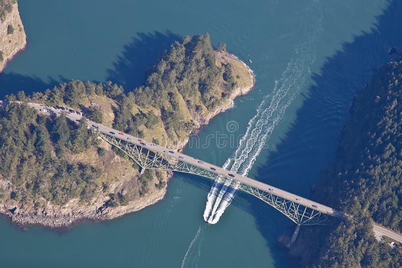 桥梁欺骗海岛通过whidbey 免版税库存照片