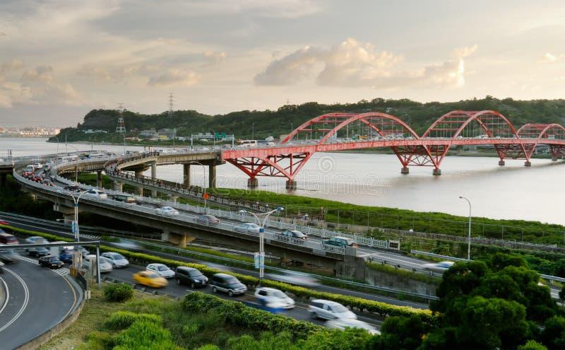 桥梁汽车都市风景 库存照片