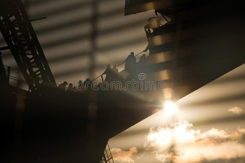 桥梁港口日落悉尼走 图库摄影