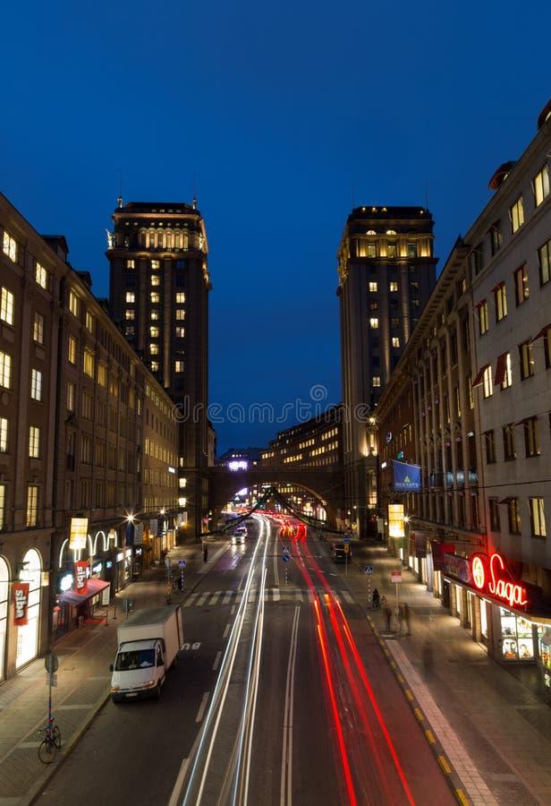 从桥梁的看法到塔房子在斯德哥尔摩 瑞典 05 11 2015年 库存图片