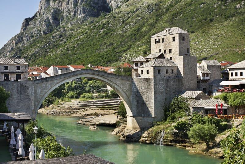 桥梁老莫斯塔尔 达成协议波斯尼亚夹子色的greyed黑塞哥维那包括专业的区区映射路径替补被遮蔽的状态周围的领土对都市植被 免版税库存照片