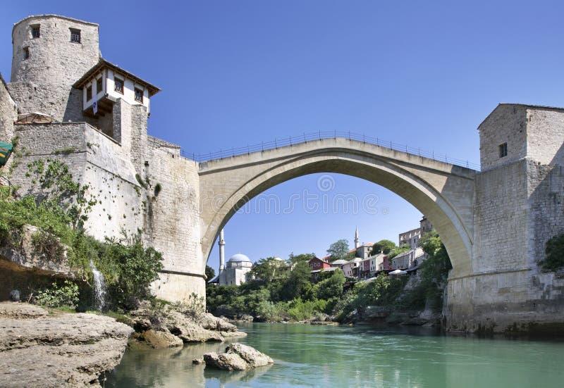 桥梁老莫斯塔尔 达成协议波斯尼亚夹子色的greyed黑塞哥维那包括专业的区区映射路径替补被遮蔽的状态周围的领土对都市植被 免版税库存图片