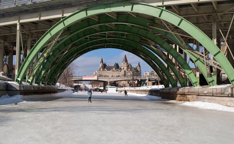 桥梁运河通过rideau溜冰者下 库存图片