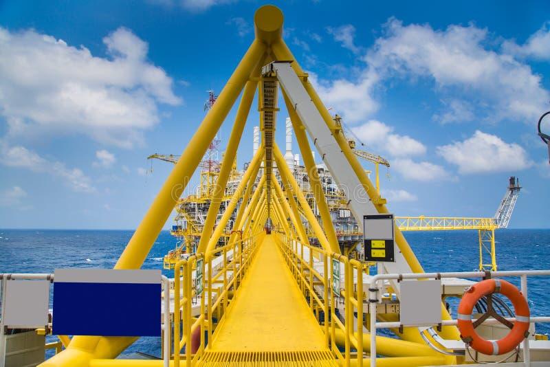 桥梁连接在处理平台和适应的油和煤气之间 免版税库存图片