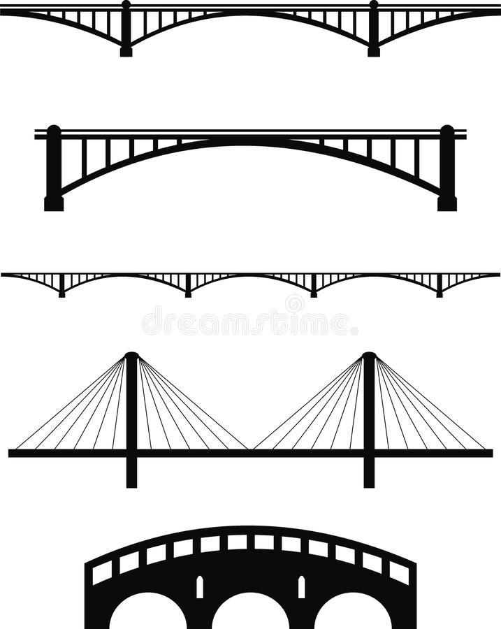 桥梁集合剪影 库存照片
