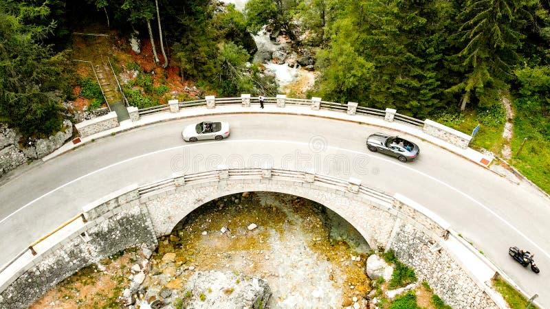 桥梁鸟瞰图在索查河河的 图库摄影