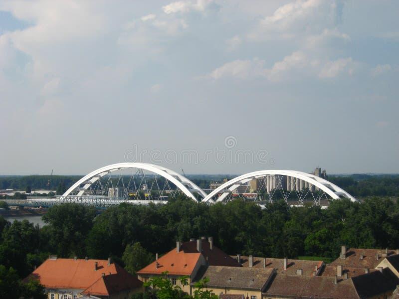 桥梁,火车,河,观点,彼得罗瓦拉丁,多瑙河,诺维萨德 库存照片