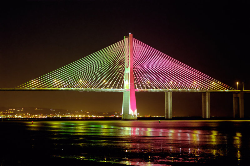桥梁da euro2004 gama瓦斯考 库存图片