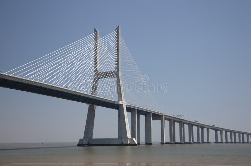 桥梁da gama里斯本瓦斯考 库存图片