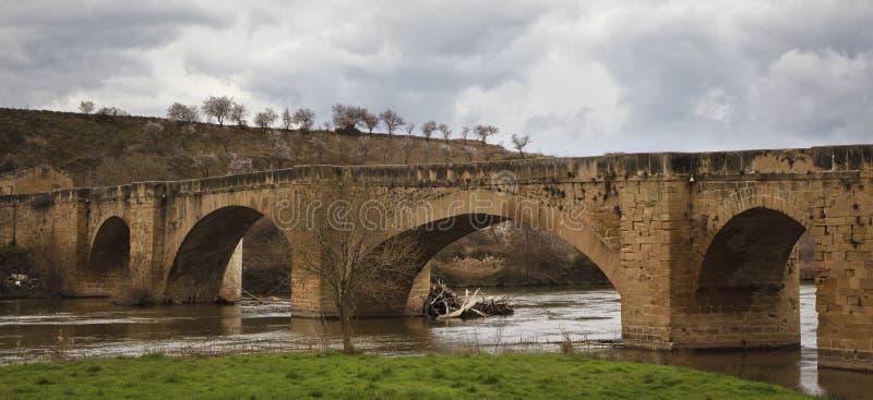 桥梁ebro中世纪河 免版税库存照片