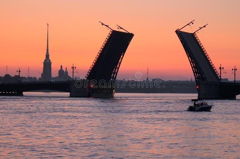 桥梁neva晚上河 免版税库存照片