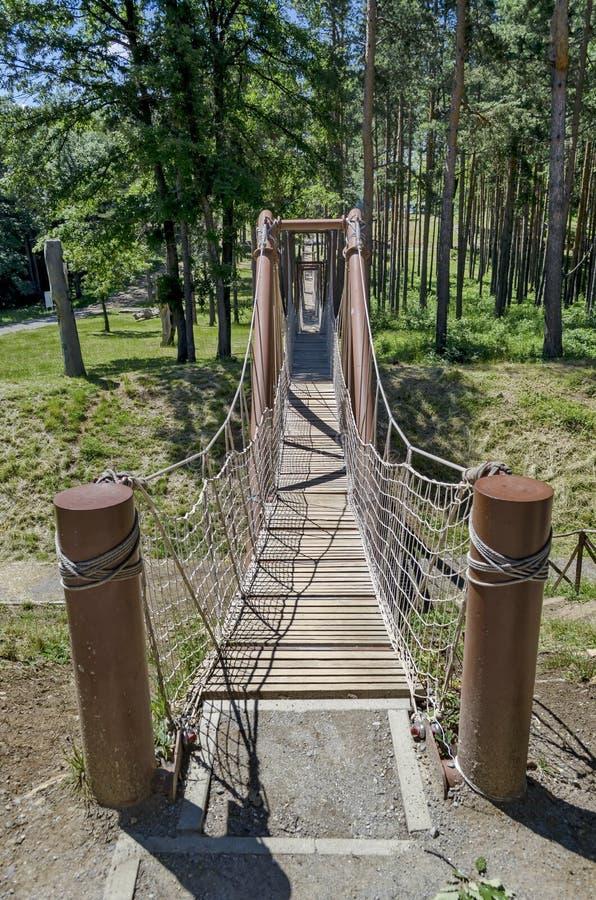 索桥的特写镜头在古老堡垒Tsari马里毕业的 免版税库存照片