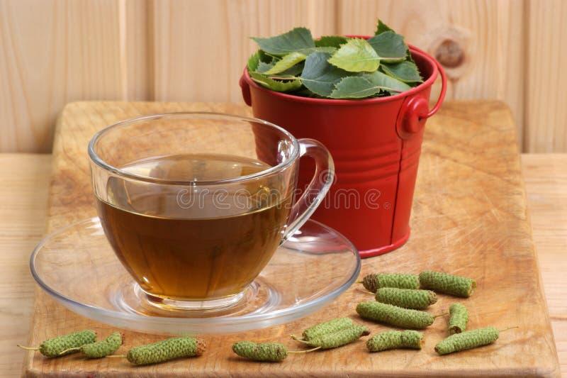 桦树叶子茶 库存照片