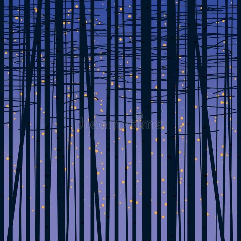 桦树树丛反对黑暗的天空的传染媒介背景 向量例证