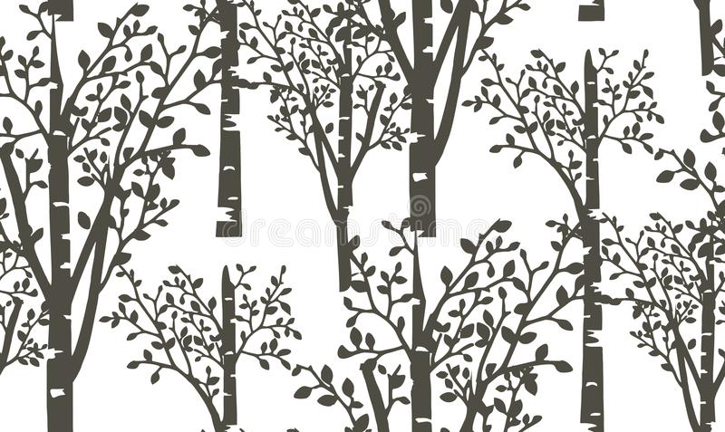 桦树森林的样式 库存例证