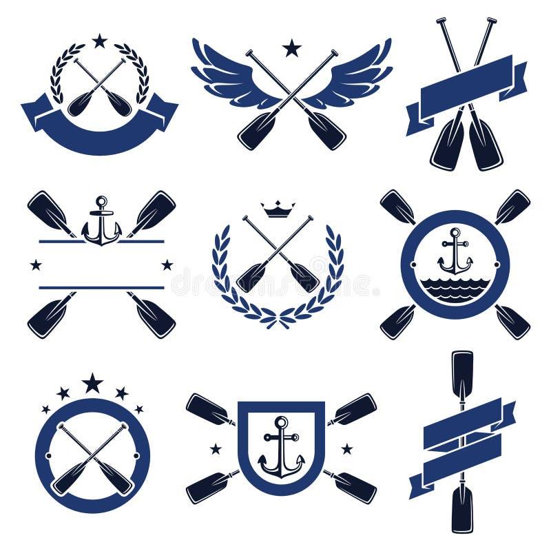 桨标签和元素集 向量 皇族释放例证