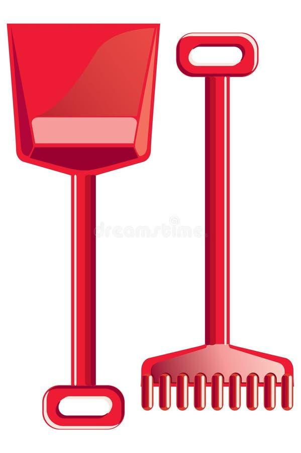 桨犁耙红色 向量例证
