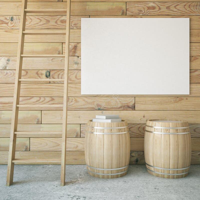 桶、梯子和广告牌 向量例证