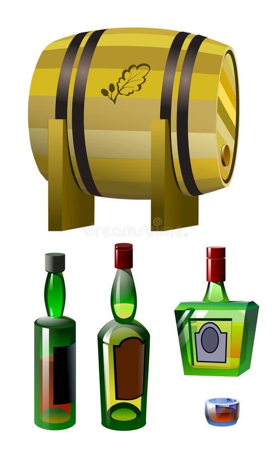 桶、玻璃和瓶威士忌酒 向量例证