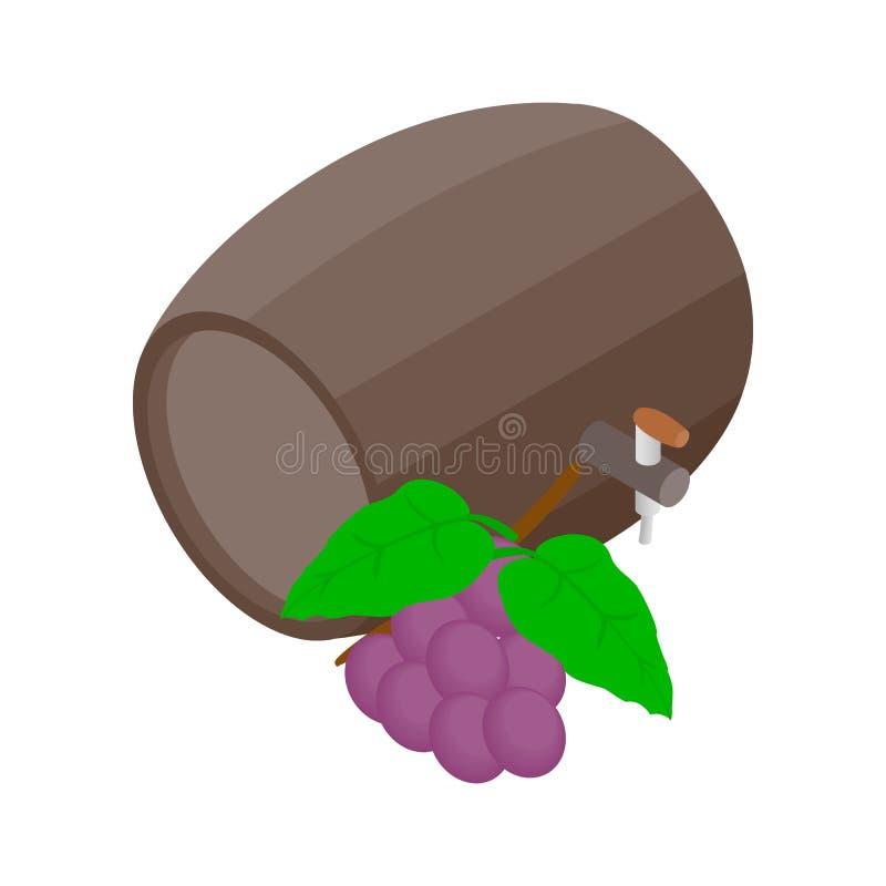 桶与葡萄分支象的酒 皇族释放例证