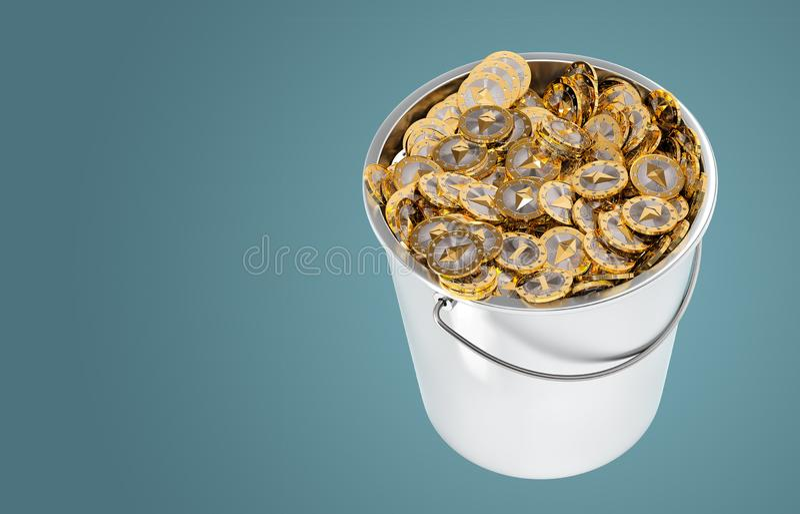 桶中的Ethereum硬币 向量例证