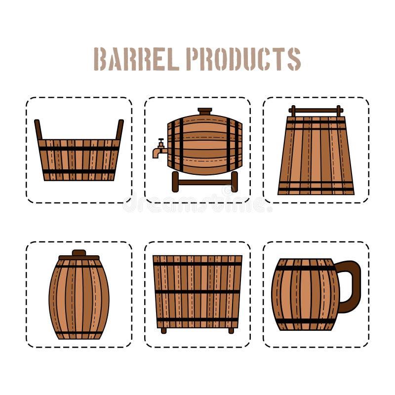 桶产品 也corel凹道例证向量 站点的,商店,事务平的对象 库存例证