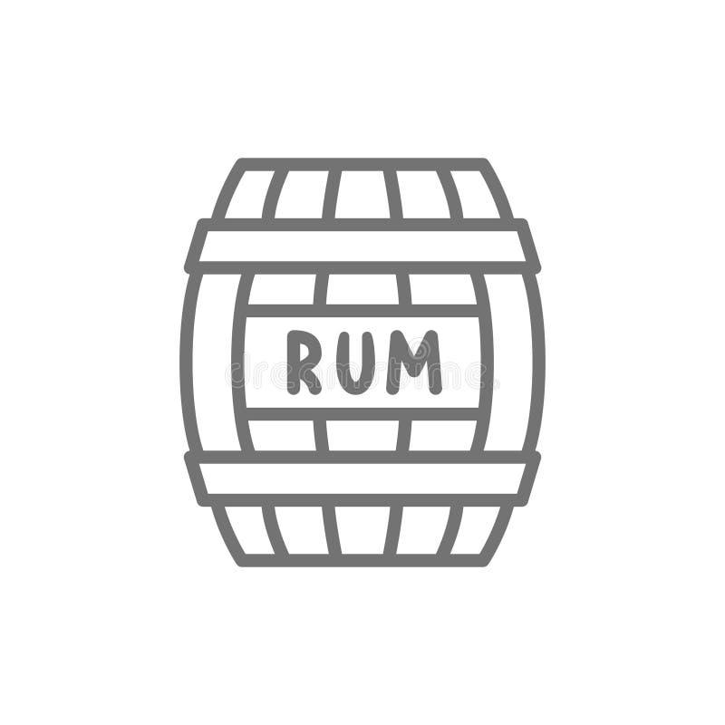 桶兰姆酒,酒精,饮料容器,木小桶线象 库存例证