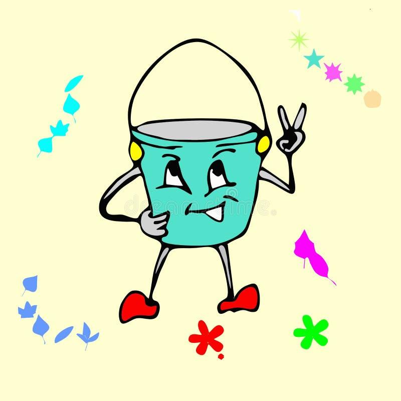桶动画片 库存例证