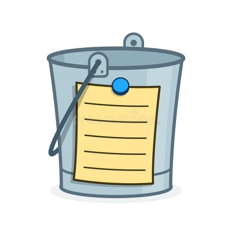 桶名单与空白页的动画片概念 向量例证