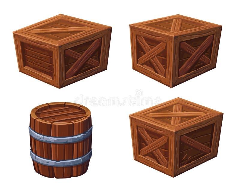 桶和箱子在白色背景 向量例证