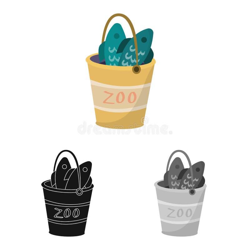 桶和鱼商标传染媒介设计  设置桶和钓鱼股票的传染媒介象 向量例证