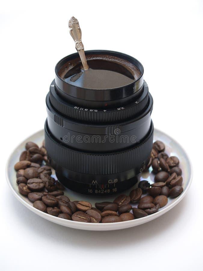 桶咖啡透镜 库存图片