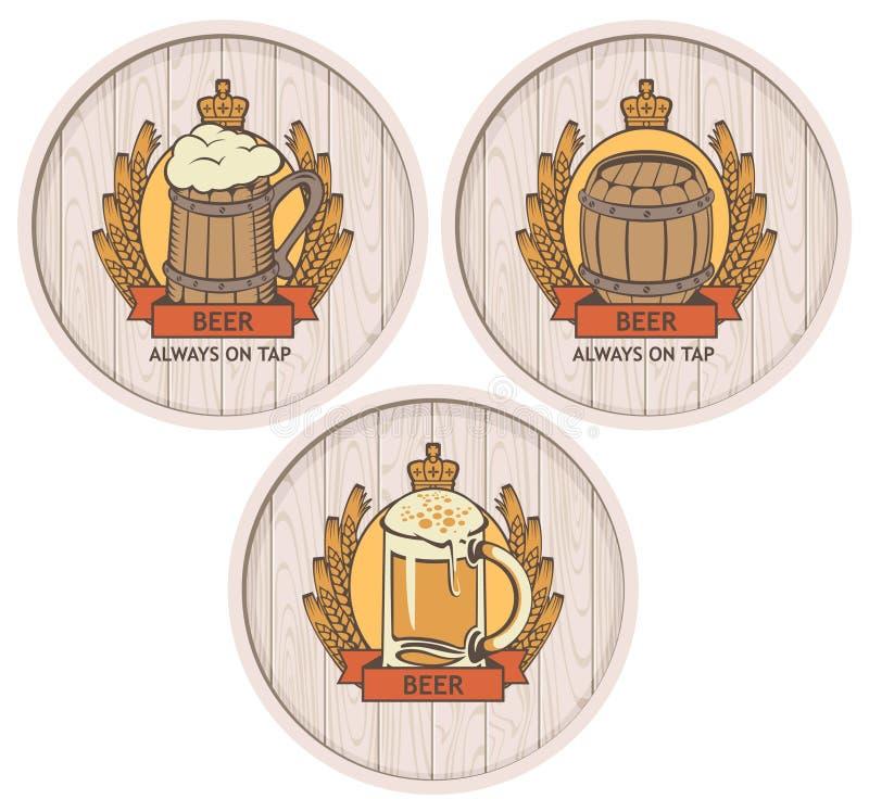 桶啤酒集合 向量例证