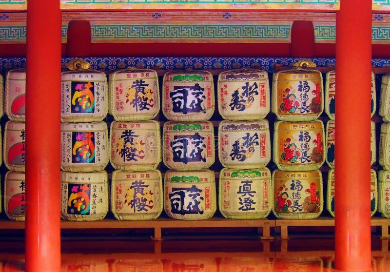 桶在日本寺庙的缘故 免版税库存照片