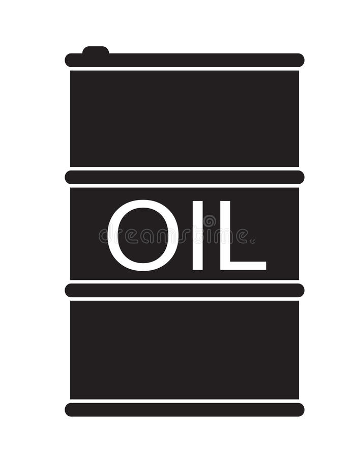 桶在白色背景的油象 向量例证