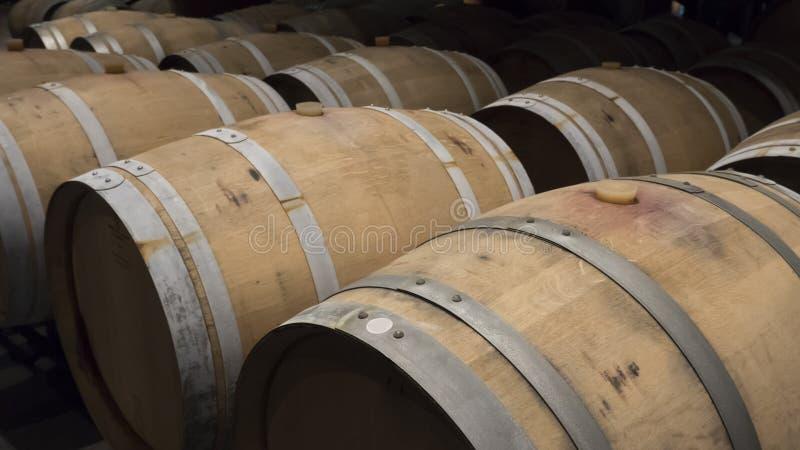 桶在葡萄酒库里 库存照片