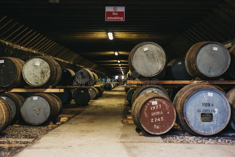 桶在Brora槽坊仓库里面的威士忌酒在苏格兰,在前面的罕见的Brora威士忌酒 免版税库存图片