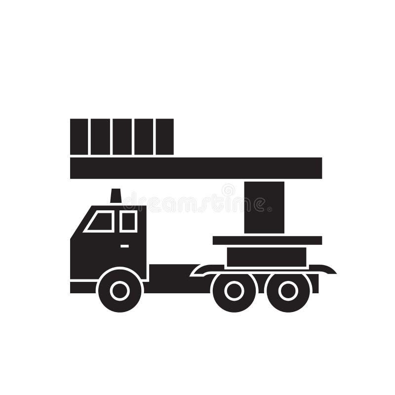 桶服务卡车黑色传染媒介概念象 桶服务卡车平的例证,标志 库存例证