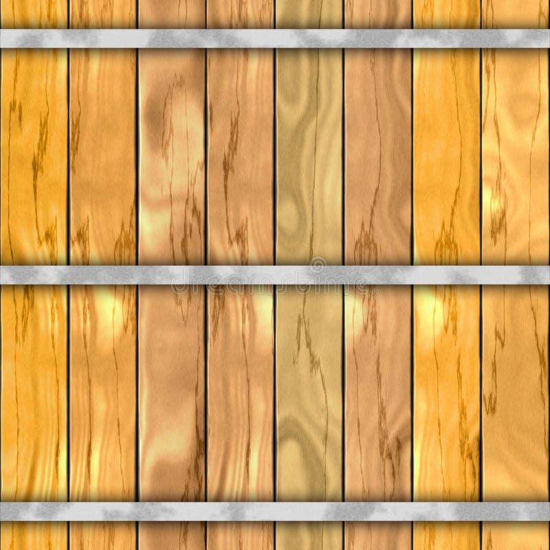桶木板条无缝的样式纹理背景 库存例证