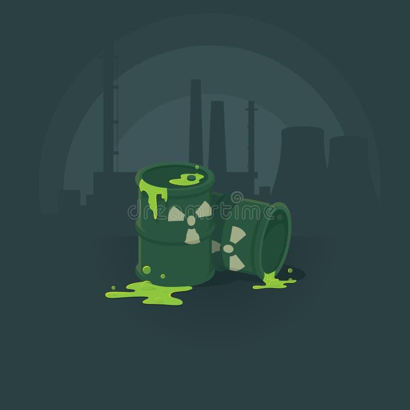 桶毒性物质 污染环境辐射 背景花新例证离开牛奶向量 皇族释放例证