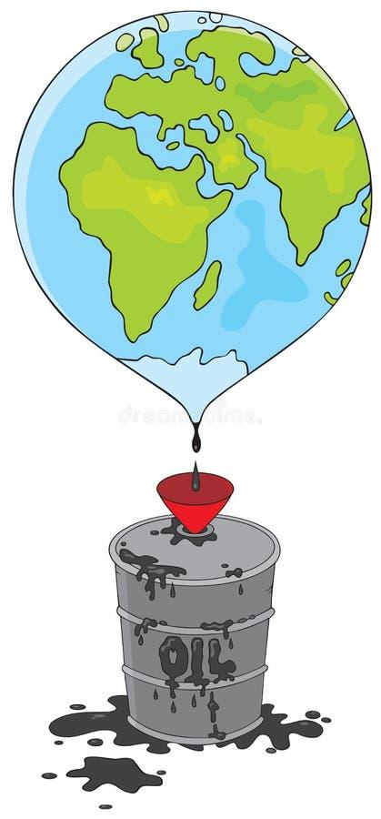 桶滴下地球油  免版税库存照片