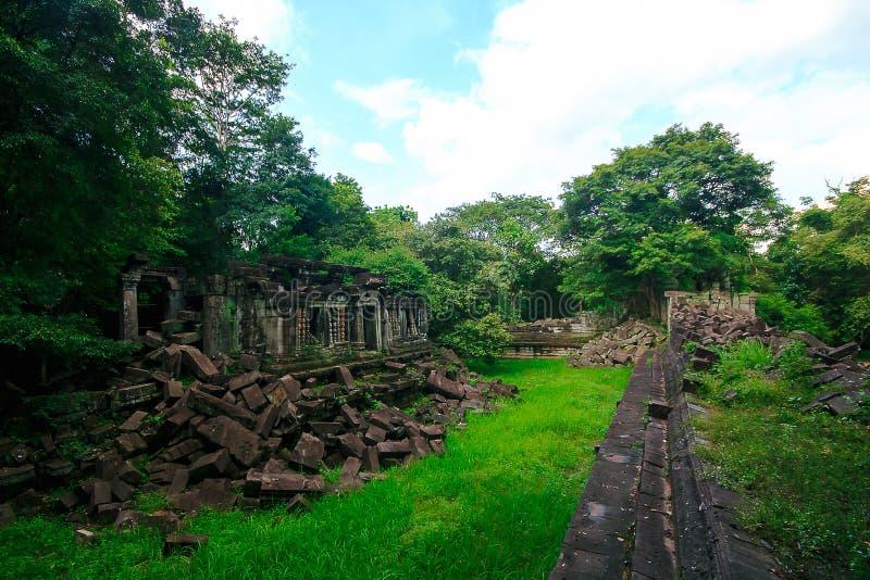 桶盖Mealea城堡,高棉王国 免版税库存照片
