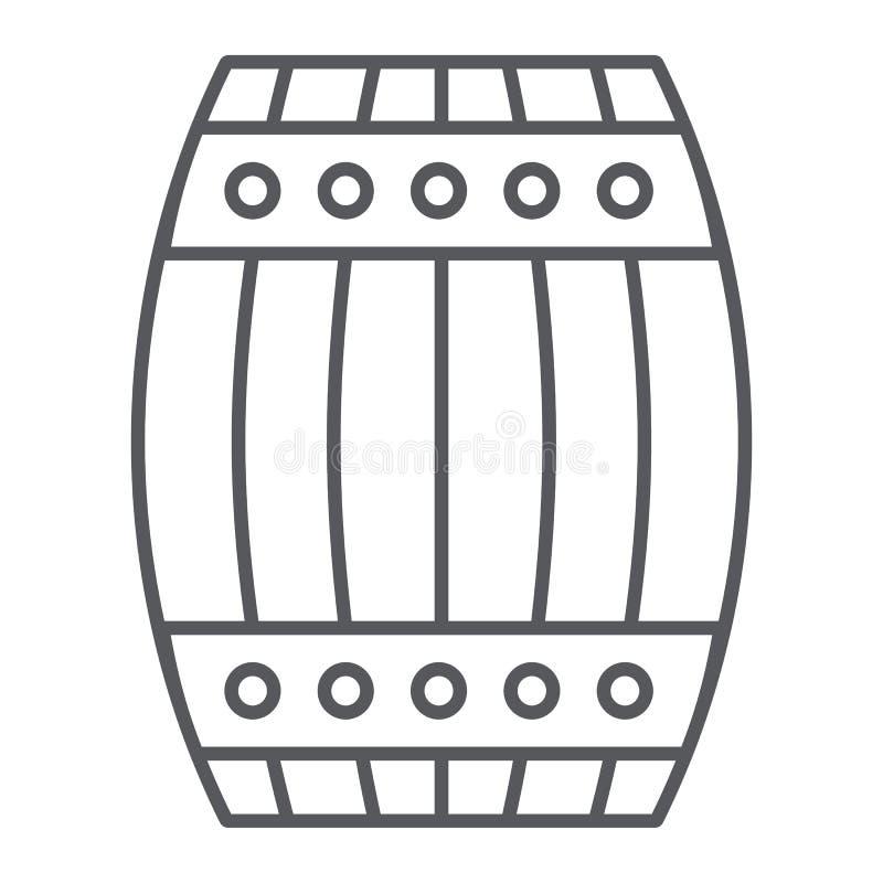 桶稀薄的线象,容器和存贮,木小桶标志,向量图形,在白色背景的一个线性样式 皇族释放例证