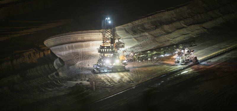 桶轮子挖掘机在露天开采的煤矿业的hambach的晚上 库存照片