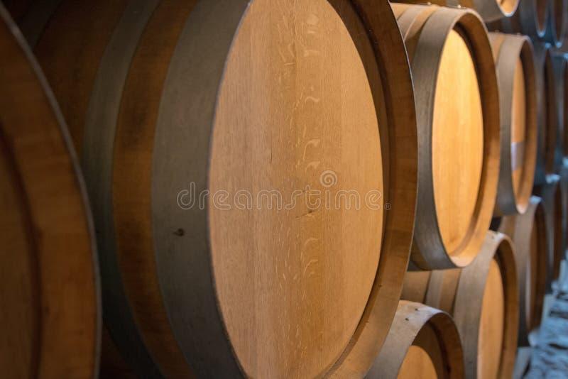 桶酒在地窖里 免版税库存图片